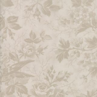 Moda Quill by 3 Sisters - 5595 - Bird Toile Floral, Beige on Cream  - 44151 31 - Cotton Fabric